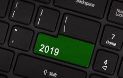 Botón del texto 2019 Foto de archivo libre de regalías