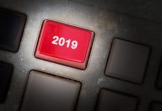 Botón del texto 2019 Fotografía de archivo libre de regalías