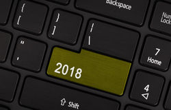 Botón del texto 2018 Fotografía de archivo libre de regalías