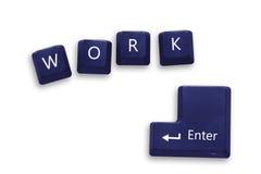 Botón del trabajo en el teclado azul para el asunto Imagen de archivo libre de regalías