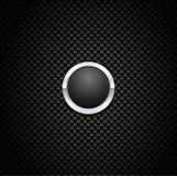 Botón del vector en fondo de la fibra del carbón Fotografía de archivo