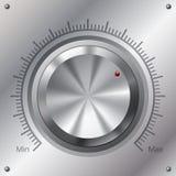 Botón del volumen con los niveles máximos mínimos Fotos de archivo