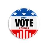 botón del voto de 3d los E.E.U.U. Imágenes de archivo libres de regalías