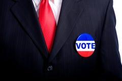 Botón del voto en hombre Imágenes de archivo libres de regalías