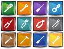 Botón del Web de las herramientas - cuadrado Foto de archivo libre de regalías