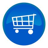 Botón del Web del carro de compras Foto de archivo libre de regalías