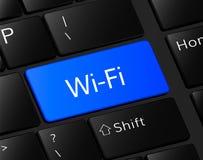 Botón del Wi-Fi en el teclado Concepto del Wi-Fi ejemplo de la comunicación wi-wi Imágenes de archivo libres de regalías