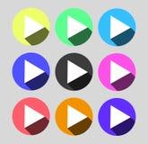 Botón determinado del vector del juego del icono colorido circular del web Foto de archivo