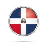 Botón dominicano de la bandera del vector República de la bandera de Dominica en vidrio stock de ilustración
