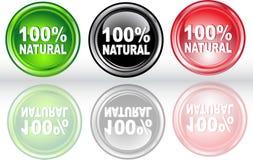Botón el 100% natural Foto de archivo libre de regalías