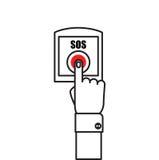 Botón el SOS con la mano Foto de archivo