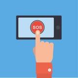 Botón el SOS con la mano Fotografía de archivo