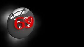 Botón 69 en el ejemplo 3D Imágenes de archivo libres de regalías