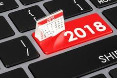 botón en el teclado, de 2018 calendarios representación 3D Imagen de archivo