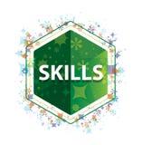 Botón floral del hexágono del verde del modelo de las plantas de las habilidades imagen de archivo