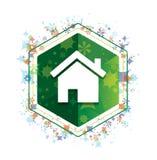 Botón floral del hexágono del verde del modelo de las plantas del icono casero ilustración del vector