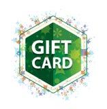 Botón floral del hexágono del verde del modelo de las plantas de la tarjeta de regalo ilustración del vector