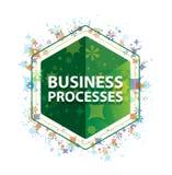 Botón floral del hexágono del verde del modelo de las plantas de los procesos de negocio ilustración del vector