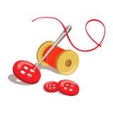 Botón, hilo con una aguja stock de ilustración