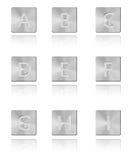 Botón A - I de la fuente del metal Fotos de archivo libres de regalías