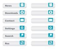 Botón ligero del Web site fijado con los iconos,   stock de ilustración