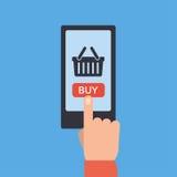 Botón móvil de las compras, diseño plano ilustración del vector