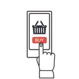 Botón móvil de las compras, diseño plano stock de ilustración