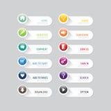 Botón moderno de la bandera con opciones sociales del diseño del icono stock de ilustración