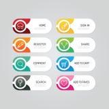 Botón moderno de la bandera con opciones sociales del diseño del icono Vector la enfermedad