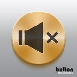 Botón mudo de oro de los sonidos con símbolo negro Fotos de archivo