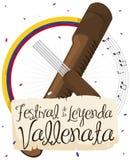 Botón musical con la voluta y Guacharaca para el festival de la leyenda de Vallenato, ejemplo del vector ilustración del vector