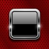Botón negro en fondo perforado del metal rojo Icono de cristal cuadrado con el marco del cromo stock de ilustración