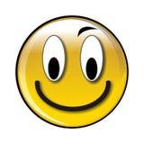 Botón o icono sonriente amarillo brillante feliz Imagenes de archivo