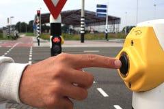 Botón para los semáforos del cambio Fotografía de archivo