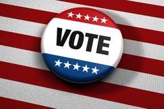 Botón patriótico del voto Imagenes de archivo