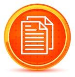 Botón redondo anaranjado natural del icono de las páginas del documento stock de ilustración