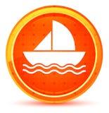 Botón redondo anaranjado natural del icono del velero ilustración del vector