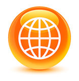 Botón redondo anaranjado vidrioso del icono del mundo libre illustration