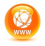 Botón redondo anaranjado vidrioso del WWW (icono de la red global) ilustración del vector