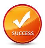 Botón redondo anaranjado vidrioso especial del éxito (valide el icono) stock de ilustración