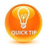 Botón redondo anaranjado vidrioso rápido de la extremidad (icono del bulbo) ilustración del vector