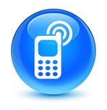 Botón redondo azul ciánico vidrioso de sonido del icono del teléfono móvil Imagen de archivo