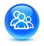 Botón redondo azul ciánico vidrioso del icono de grupo libre illustration