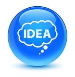 Botón redondo azul ciánico vidrioso del icono de la burbuja de la idea Fotos de archivo