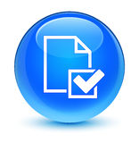 Botón redondo azul ciánico vidrioso del icono de la lista de control libre illustration