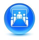 Botón redondo azul ciánico vidrioso del icono de la sala de reunión libre illustration