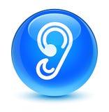 Botón redondo azul ciánico vidrioso del icono del oído ilustración del vector