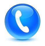 Botón redondo azul ciánico vidrioso del icono del teléfono Foto de archivo