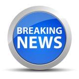 Botón redondo azul de las noticias de última hora stock de ilustración