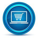 Botón redondo azul del carro de la compra del ordenador portátil del globo del ojo en línea del icono ilustración del vector